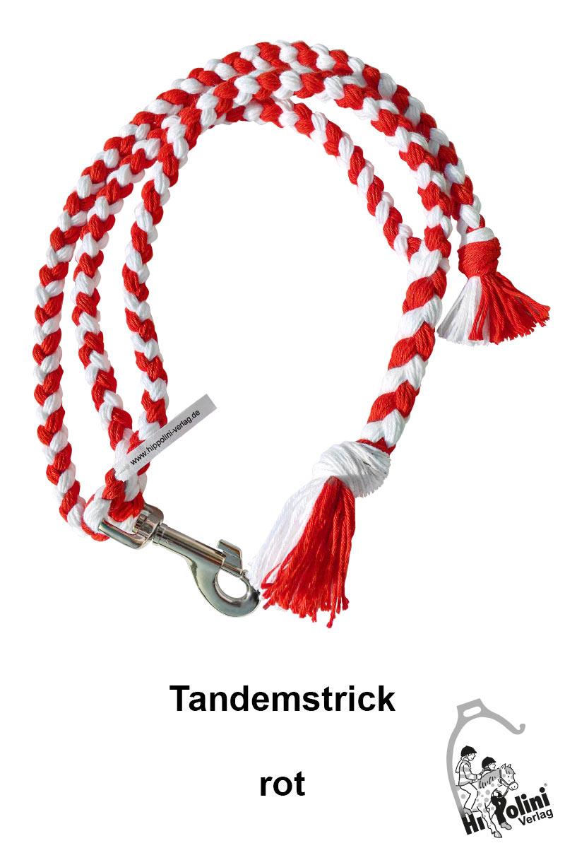 1014 Tandemstrick Rot Pferde-Führstrick