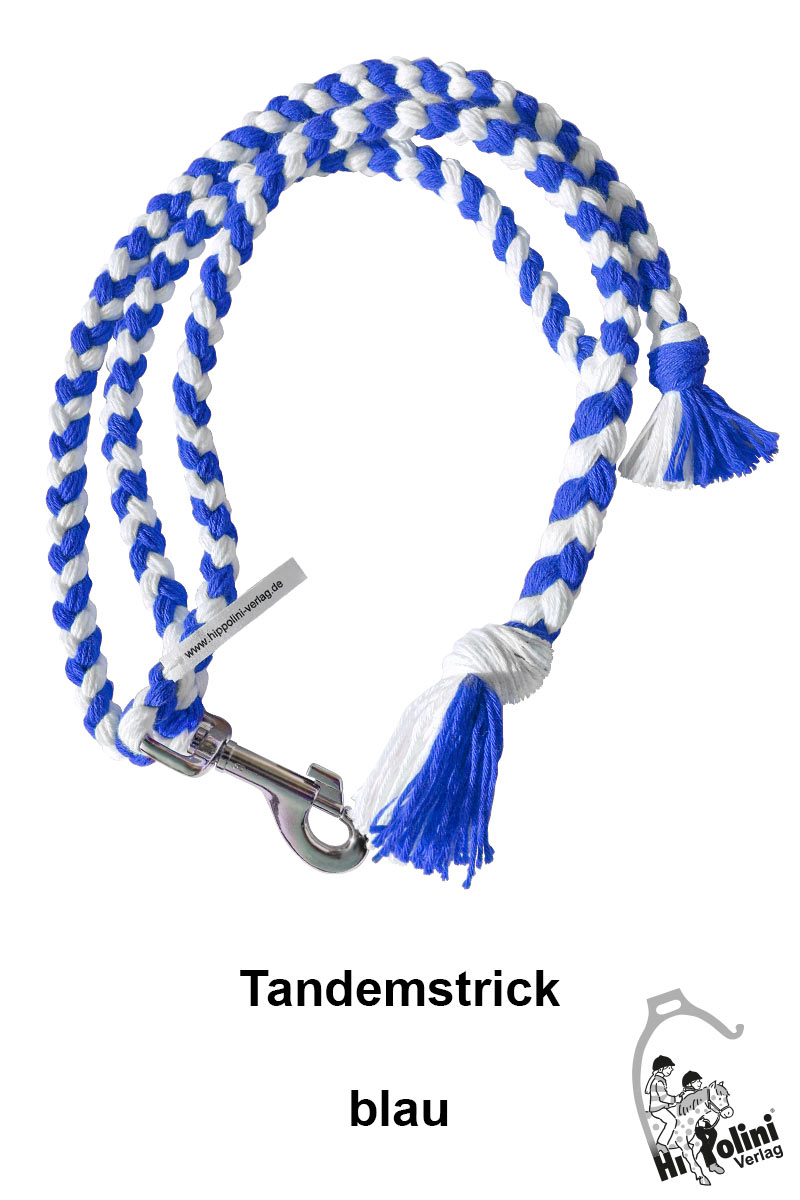 1014 Tandemstrick Blau Pferde-Führstrick