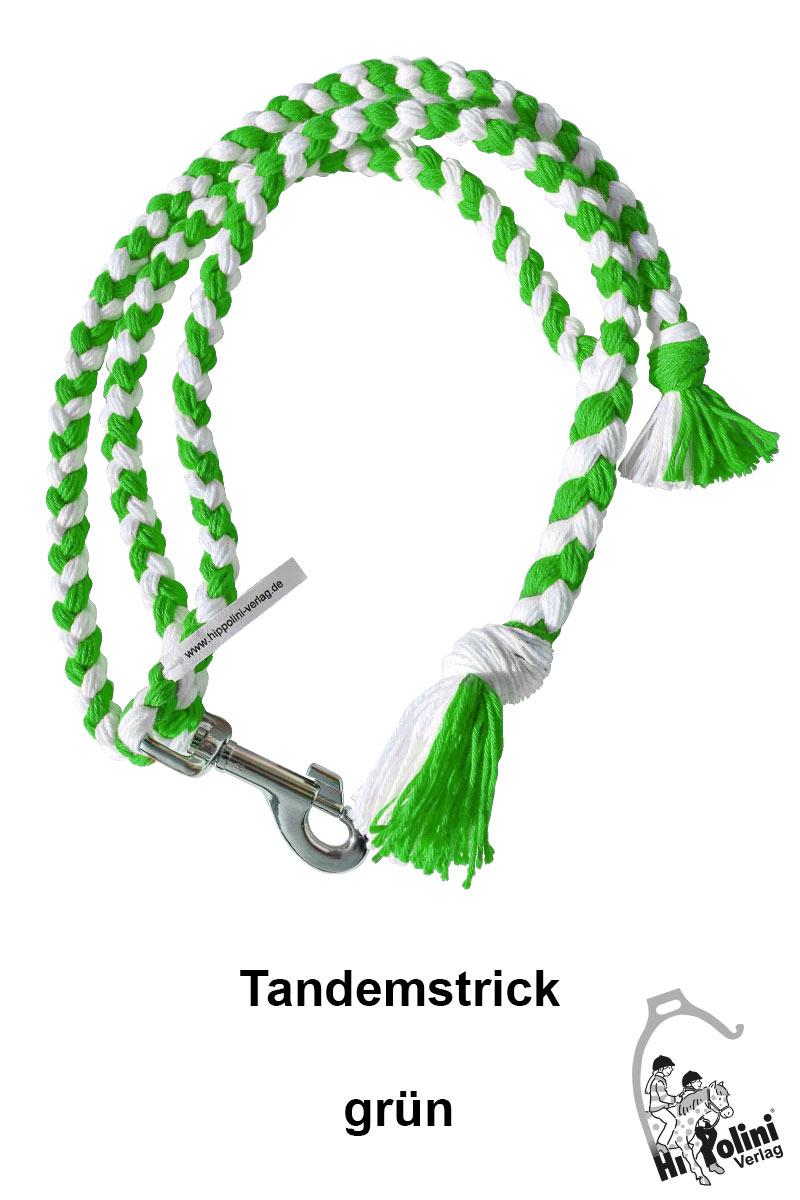 1014 Tandemstrick Grün Pferde-Führstrick