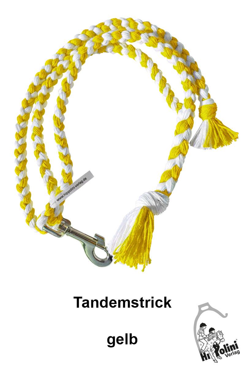1014 Tandemstrick Gelb Pferde-Führstrick